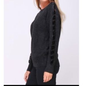 Sweaters - PARIS Black sleeves detail sweater